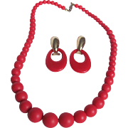 SALE Mid Century Cherry Red Lucite Graduated Necklace & Omega Doorknocker Earring Set