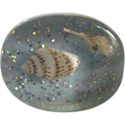 SALE Mid Century Pop Art Blue Mermaid Sea Shell Lucite Size 6 Ring  2 for 1 offer