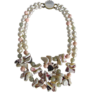 SALE Signed Miriam Haskell Graduated Conch Shell Nuggets & Faux Coral & Faux Pearl MOP Clasp N