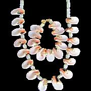 SALE Vintage Angel Skin Pink Conch Slices and MOP Necklace & Bracelet