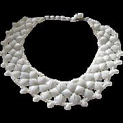 SALE Vintage Western Germany Milk Glass Flower Petal Necklace