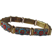 "SALE Victorian Pinchbeck Italian Mosaic Link Bracelet stamped ""Made in Italy"""