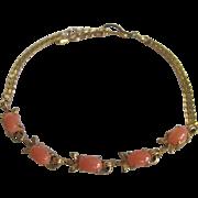 SALE Vintage Natural Angel Skin Pink 5 Cabochon GP Bracelet