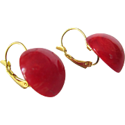 SALE Updated Vintage Red Swirl Cabochon Bakelite GP Dormeuse  Pierced Earrings