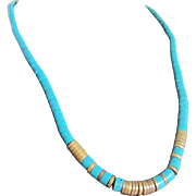 SALE Vintage Egyptian Revival Style Turquoise Enhanced Heishi Bead Necklace with Certified ...