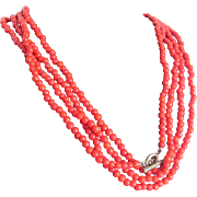 """SALE Antique Coral Red Art Glass  98 1/2"""" long , 591 bead necklace with Certified ..."""