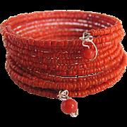 SALE Vintage Salmon Italian Branch Seed Bead Coral on Memory Wire Bracelet