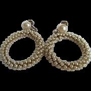 SALE Vintage Faux Pearl Wired Eternity Circle Screwback Earrings