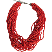 SALE Vintage Italian Sardinian red Natural Coral Torsade Seed bead necklace