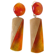 SOLD Art Deco Bakelite Applejuice Prystal  & Wood Dangling Dormeuse Pierced Earrings