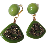 SOLD Art Deco Bakelite Green with Filagree Dangling Dormeuse Pierced Earrings