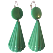 SALE Art Deco Creamy Green Celluloid with Dangling Dormeuse Pierced Earrings