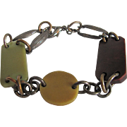 SALE Art Deco Galalith links with Aged Patina Brass Findings Bracelet