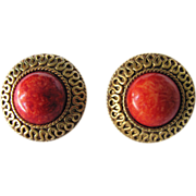 SALE Vintage Signed Napier Faux Coral Cabochon Pierced Earrings