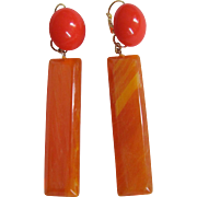 SALE Upcycled ReMixed Orange Bakelite & Transparent Lucite Bottoms  GP Dormeuse Earrings