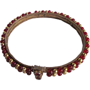 SALE Victorian Pinchbeck Ruby Red Glass Beads with Bezel Set Paste Clasp Bracelet
