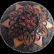 SALE Vintage Folk Art Wood Burned Hand Crafted Brooch