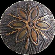 SALE Vintage Folk Art Wood Burning Hand Crafted Brooch with Gold Leaf Detail