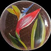 SALE Vintage Folk Art Wood Hand Painted Brooch with Gold Leaf Detail
