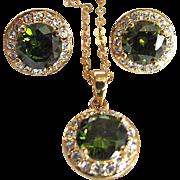 SALE Vintage Peridot Glass Faceted & CZ Demi Parure & GF Chain & Pendant & Earrings  Set