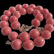 SALE Vintage Sponge Coral Natural Rosy Angel Skin 20mm Necklace & Bracelet with Certified