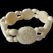 SALE Vintage Stretch Carved Bone Flower Link Bracelet