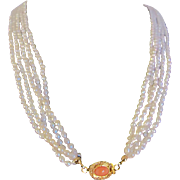 SALE Vintage 18kt GP Angel Skin Coral Cabochon Clasp & Natural Freshwater Rice Pearls 5 ..