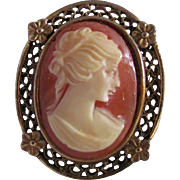 SALE Victorian Revival Vintage Shell Cameo in Fancy Gold Plated Frame Brooch