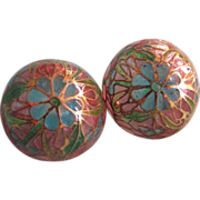 SOLD Art Nouveau Style Plique a Jour Domed Stained Glass  Pierced Earrings