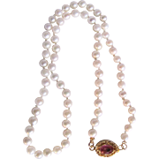 SALE Vintage 18kt GP Pink Topaz Clasp & Cultured Pearl 4mm Necklace with Certified Appraisal .