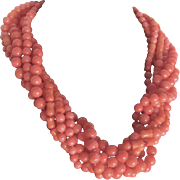SALE Vintage 22kt GP Angel Skin Enhanced Coral Torsade Certified Appraisal $2445