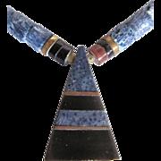 SALE Vintage Black & Blue Sponge Coral Egyptian Revival Style Pendant Necklace