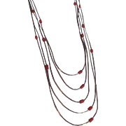 SALE Vintage 5 Strand Liquid Silver Natural Coral Necklace with Certified Appraisal $520