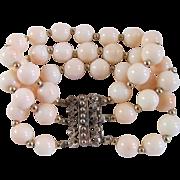 SALE Antique Victorian Rose GP 10mm Angel skin Coral Bracelet with *Certified Appraisal* $1285