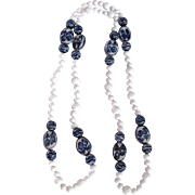 SALE Joie de l'Orient Chinese Export Blue & White Porcelain/White Coral/Milk Glass Bead Ha