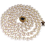 """SALE Vintage 18kt GP /6-6.5mm Very Fine A+Cultured Pearl 30"""" Necklace -with ..."""
