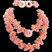 SALE Vintage Angel skin Carved Branch Coral Demi Parure/Bracelet & Necklace with Certified