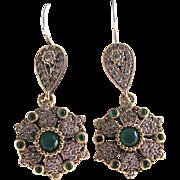 SALE Victorian Sterling GP Emerald Colored Paste & Faux Diamond Paste Pierced Earrings wit