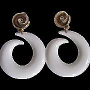 SALE Mid Century Pop Art White Lucite Swirl Large Scale Pierced Earrings
