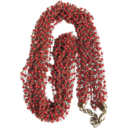 "SALE Mid Century Red Coral Seed Bead & Brass wired Cascading 40"" 8 Strand Torsade Nec"