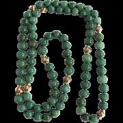 "SALE Vintage 14kt GP  Apple Green Enhanced Nephrite Jade 8mm/32"" Eternity Necklace Certif"