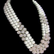 SALE Vintage Triple Strand White Quartz & Graduated Rose Quartz  Necklace