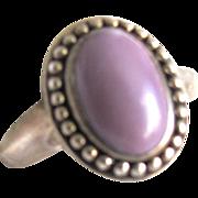 SALE Vintage Chinese Lavender Jadeite Cabochon Sterling Silver Ring