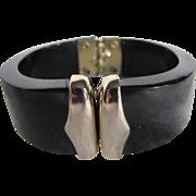 SALE 40's Rare Celluloid Black Cuff Tapered Bracelet