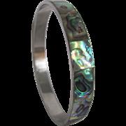 SALE Mid Century Inlaid Abalone Chrome Bangle Bracelet