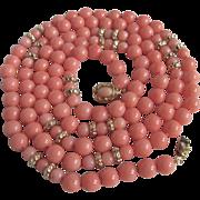 """SALE Vintage 18kt GP Angel Skin Coral  7mm - 5mm 42"""" Necklace"""