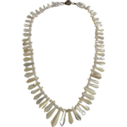 """SALE Antique Victorian Mother Of Pearl Graduated 16"""" Necklace"""