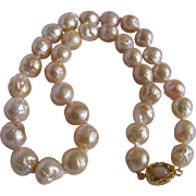 SALE Appraised $2765 18kt GP Chinese WRINKLE Freshwater Pearl 12mm With Moonstone Necklace