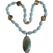 SALE 18kt GP Druzy Geo Slice Pendant with Rock Quartz & Abalone & Labradorite Necklace