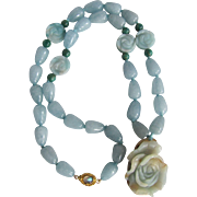 SALE Chinese Rose Carved Dyed Jadeite 18kt GF Labradorite Clasp Quartz Beads, Carved Dyed Amaz